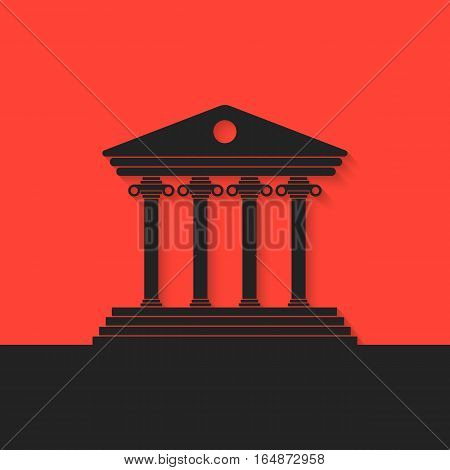 black greek colonnade on red background. concept of real estate, library, temple, capitol, parthenon, retro facade, banking establishment. flat style trend modern logo design eps10 vector illustration