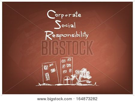Business Concepts CSR Abbreviation or Corporate Social Responsibility on Brown Chalkboard