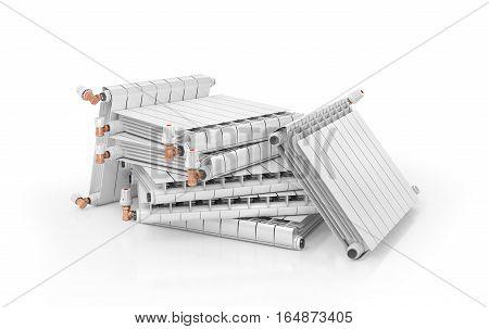 Heating radiators isolated on white background. 3d illustration