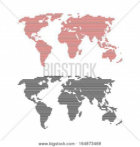 red and black line world maps. concept of infographics element, trip around the world, globalization. isolated on white background. flat style trend modern logo design vector illustration