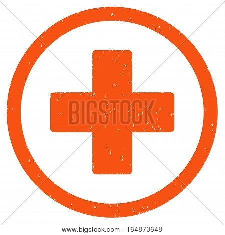 Plus rubber seal stamp watermark. Icon vector symbol with grunge design and corrosion texture. Scratched orange ink sign on a white background.