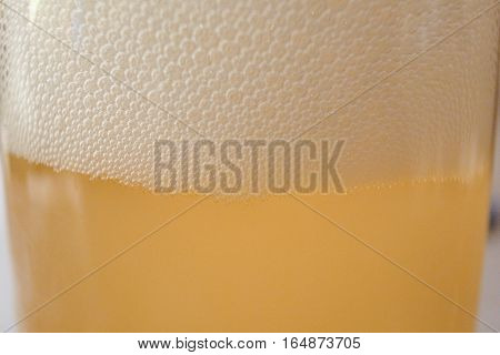 Close up of beer bubbles, draft beer