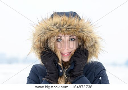 Pretty Young Woman In Trendy Winter Fashion