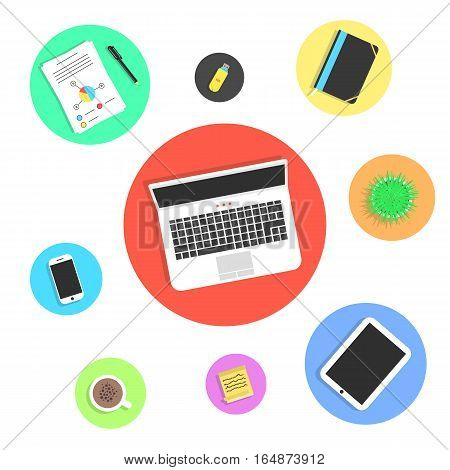 office objects in colored circles. concept of meeting, freelance lifestyle, top view elements, briefing, coworking centre. isolated on white background. flat style modern design vector illustration