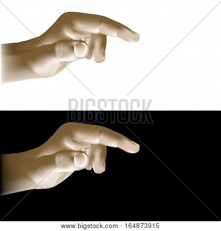 Realistic hand finger points or clicks. Isolated object is presented in two versions on a white and black background.