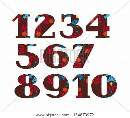 Numbers, red flowers, vector, brown. Colored, vector figures with serifs. Red and blue flowers on a brown background.