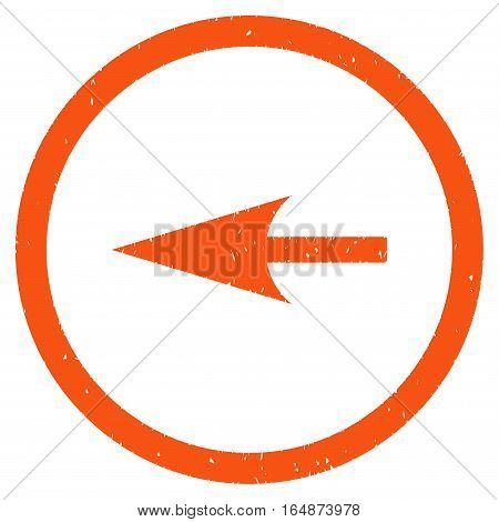 Sharp Left Arrow rubber seal stamp watermark. Icon vector symbol with grunge design and corrosion texture. Scratched orange ink emblem on a white background.