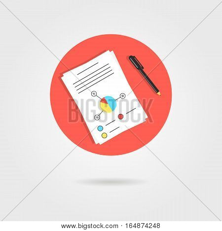 white sheet with graph and pen in red circle. concept of presentation, detail examination, annual report, profit. isolated on gray background. flat style trend modern design vector illustration