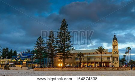 Adelaide Australia - August 16 2015: Glenelg Town Hall at sunset with people around near Moseley Square Jetty Road South Australia