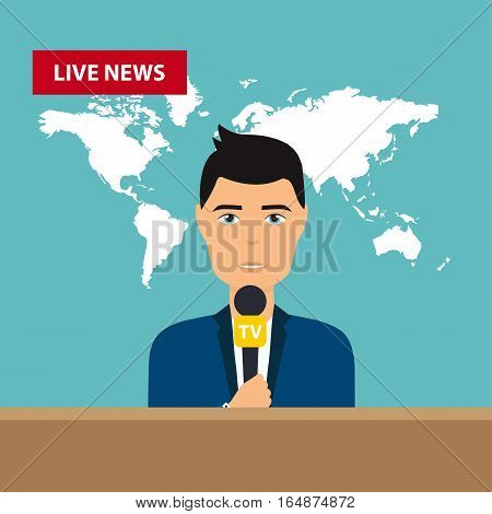 Male TV presenters sit at the table. Live news. News of the world. Flat design modern vector illustration concept.