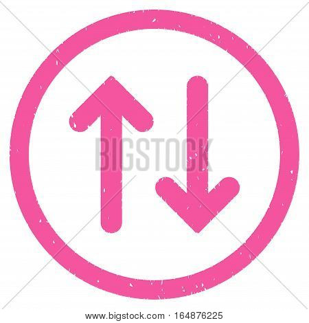 Flip rubber seal stamp watermark. Icon vector symbol with grunge design and dust texture. Scratched pink ink sticker on a white background.