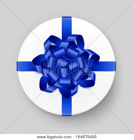 Vector White Round Gift Box with Shiny Blue Bow and Ribbon Top View Close up Isolated on Background