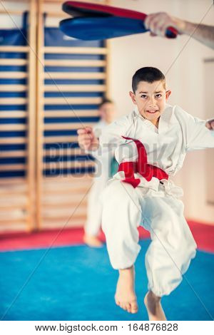 Boy on Tae kwon do training with trainer
