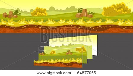 Gaming sunny landscape including green fields and stones with separated layers on grey background vector illustration