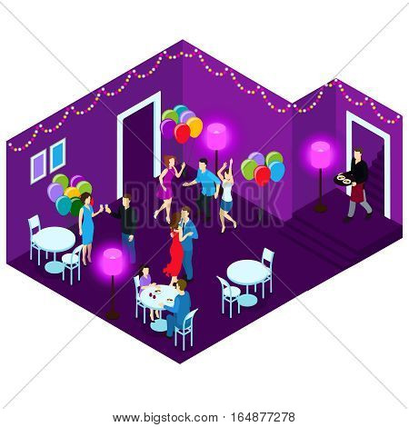Dancing and sitting people at party in restaurant with white tables and purple walls isometric vector illustration