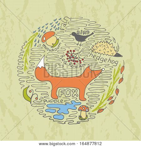 Autumn hand drawn concept with fox hedgehog mushroom bird rain and puddle. Stock vector illustration of seasonal forest scene in a circle on textured background. T-shirt design or home decor element.