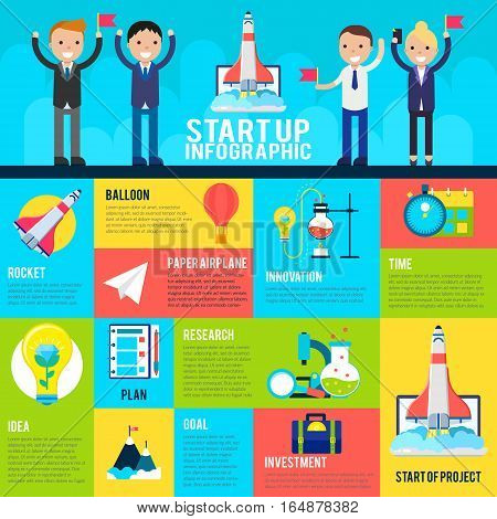 Start up flat infographics with different elements for successful project and business achievement vector illustration