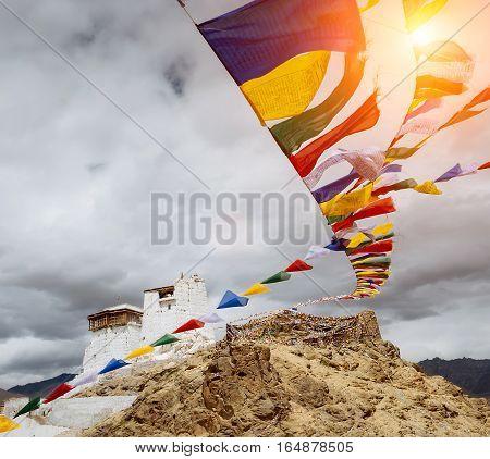 Prayer tibetan flags near the Namgyal Tsemo Monastery in Leh Ladakh