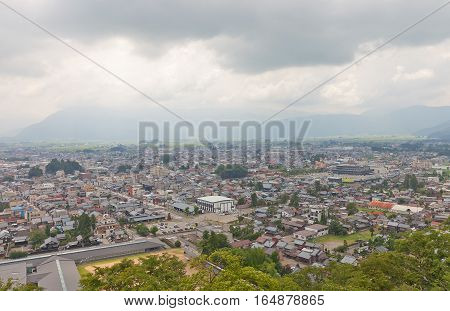 OHNO JAPAN - AUGUST 02 2016: View of Ohno city from the main keep of Echizen Ohno castle. Ohno city of Fukui Prefecture has 400-years history and was called