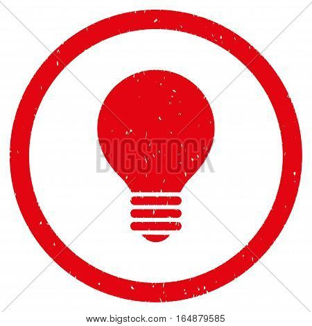 Electric Bulb rubber seal stamp watermark. Icon vector symbol with grunge design and dust texture. Scratched red ink sign on a white background.