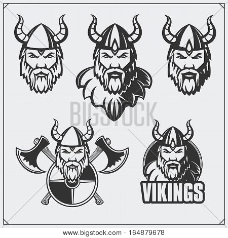 Set of viking emblems. Warriors a viking helmet. Vintage style.