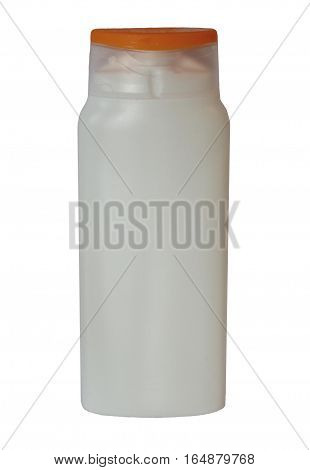 White plastic bottle with colored cape of body care and beauty products (shampoo, shower gel, body lotion). Isolated on white background.