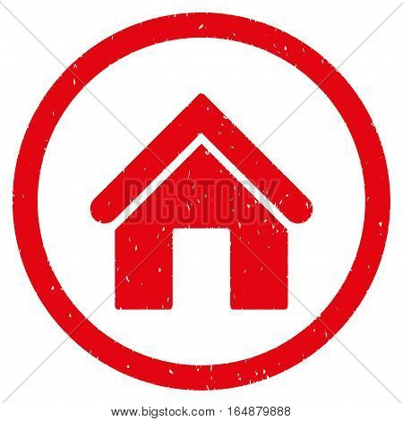 Home rubber seal stamp watermark. Icon vector symbol with grunge design and corrosion texture. Scratched red ink sign on a white background.