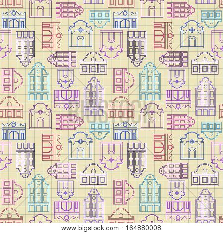 Seamless vector pattern of stylized vintage linear houses. Imitation of a ballpoint pen drawing on graph paper of a school notebook.