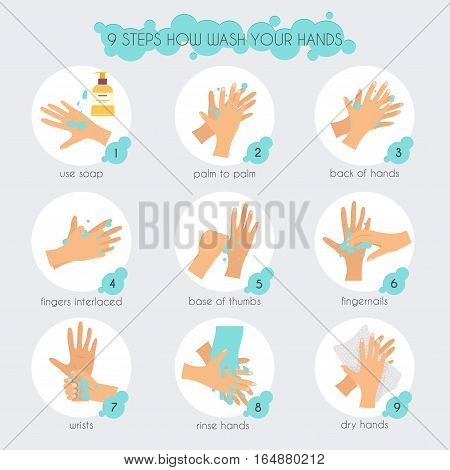 9 Steps To Properly Wash Your Hands.  Flat Design Modern Vector Illustration Concept.