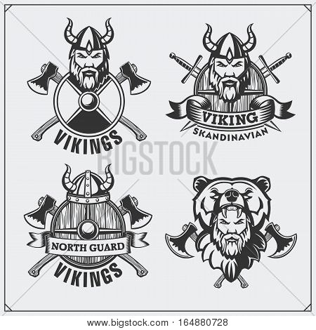 Set of viking labels, badges and emblems. Horned helmet, warrior, shield, sword and ax. Vintage style.