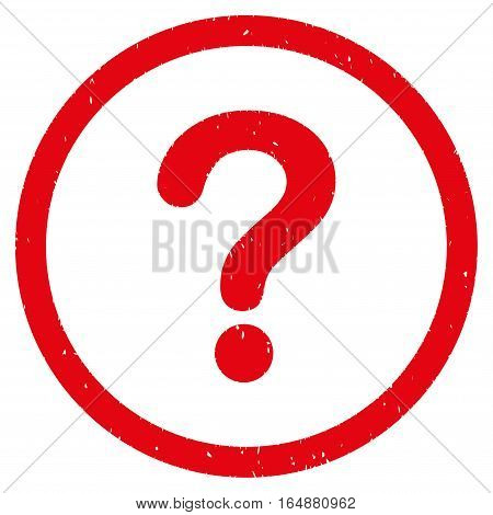 Question rubber seal stamp watermark. Icon vector symbol with grunge design and corrosion texture. Scratched red ink sticker on a white background.