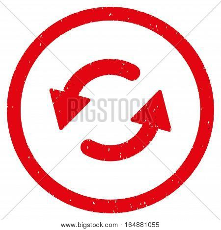 Refresh CCW rubber seal stamp watermark. Icon vector symbol with grunge design and dust texture. Scratched red ink sign on a white background.