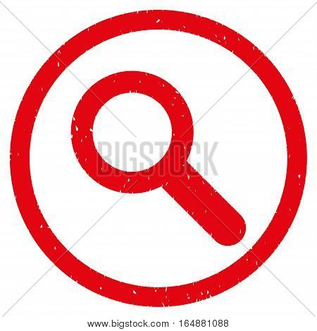 Search rubber seal stamp watermark. Icon vector symbol with grunge design and corrosion texture. Scratched red ink sticker on a white background.