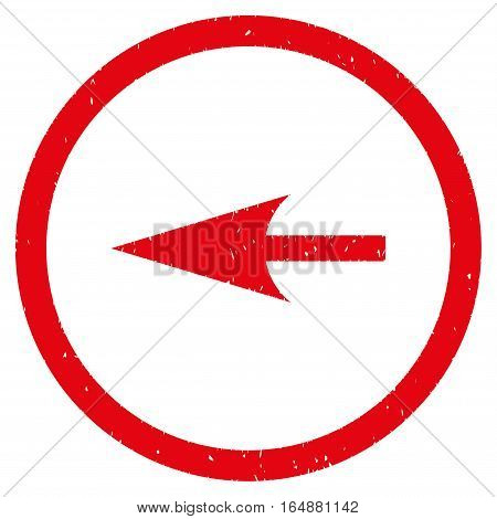 Sharp Left Arrow rubber seal stamp watermark. Icon vector symbol with grunge design and corrosion texture. Scratched red ink sign on a white background.