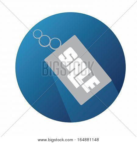 Vector Flat Sale Label With Long Shadow And Blue Background