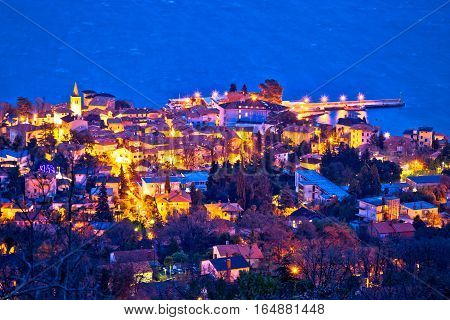 Town Of Lovran Aerial Evening View