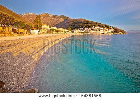 Moscenicka Draga Turquoise Beach At Sunrise