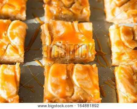 Home made apple cinnamon blondies with salted caramel. Sweet food dessert detail