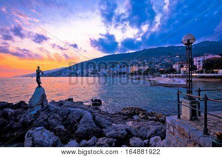 Town Of Opatija Waterfront Sunset