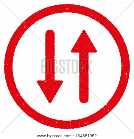 Vertical Exchange Arrows rubber seal stamp watermark. Icon vector symbol with grunge design and dirty texture. Scratched red ink sign on a white background.