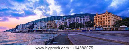 Town Of Opatija Waterfront Sunset Panorama