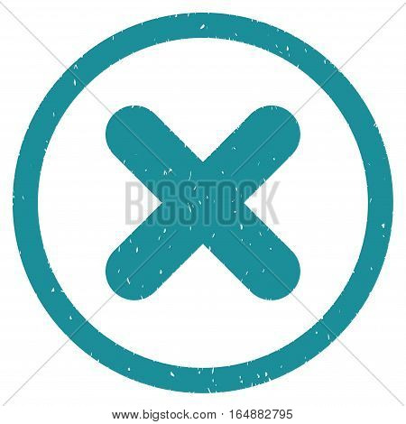 Cancel rubber seal stamp watermark. Icon vector symbol with grunge design and dust texture. Scratched soft blue ink sticker on a white background.