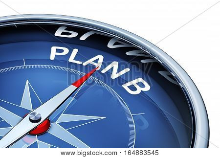 3D rendering of a compass with a plan B icon