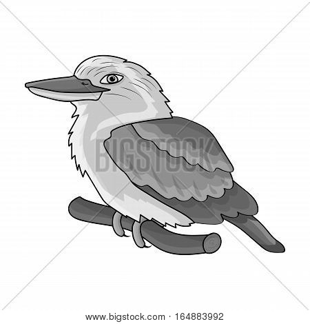 Kookaburra sitting on branch icon in monochrome design isolated on white background. Australia symbol stock vector illustration.