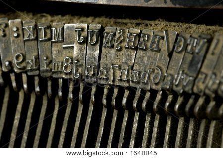 Old Dusty Typewriter Machine Close-Up