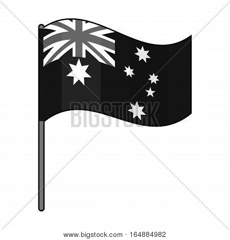 Australian flag icon in monochrome design isolated on white background. Australia symbol stock vector illustration.