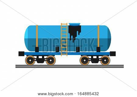 Oil industry production transportation extracting cartoon icons vector illustration. Energy processing petroleum container shipping technology design.