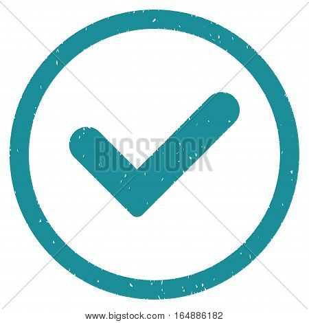 Yes rubber seal stamp watermark. Icon vector symbol with grunge design and dirty texture. Scratched soft blue ink sign on a white background.