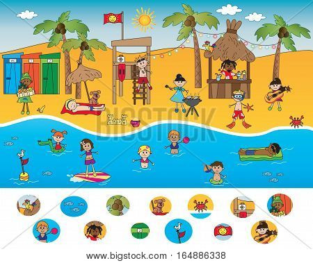 game for children: find the icons visual game beach scene