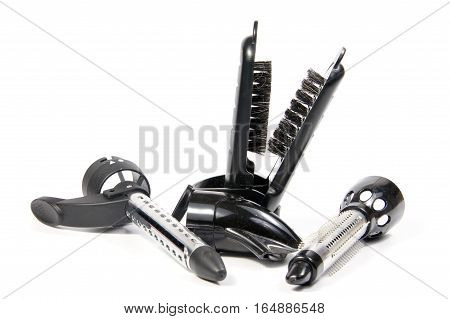 Hairdryer brush. Isolate on white background. equipment